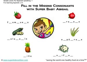 Filling in Missing Consonants (Spanish) kids activity superkids nutrition