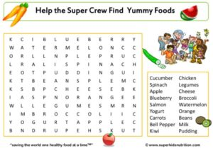 Food Group Fun Word Search kids activity superkids nutrition