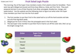 Fruit Salad Logic Puzzle kids activity superkids nutrition