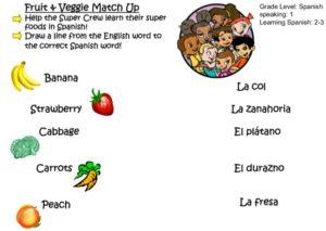 Fruit Veggie Match Up (Spanish) kids activity superkids nutrition