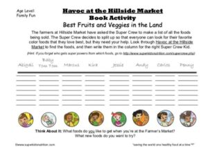 Fruit and Veggie Food Find Feature kids activity superkids nutrition