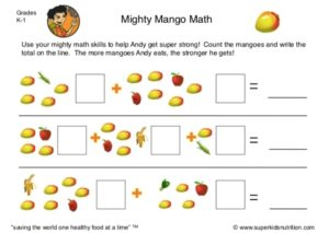 nutrition math activity for kids superkids nutrition