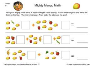 nutrition math activity for kids superkids nutrition