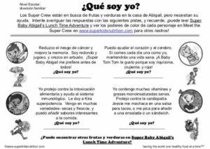 spanish kids worksheet superkids nutrition
