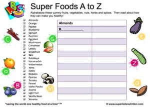 Super Foods A-Z kids activity superkids nutrition