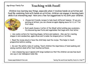 Teaching With Food activity sheet