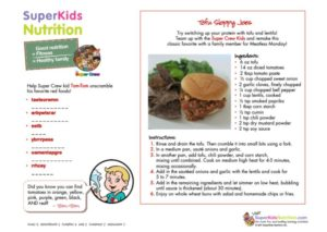 Tom-Tom's Tofu Sloppy Joes kids recipe activity superkids nutrition