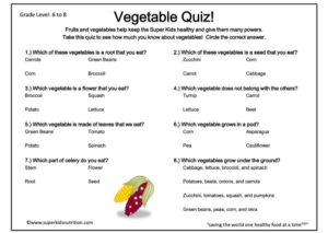 Vegetable Quiz kids activity superkids nutrition