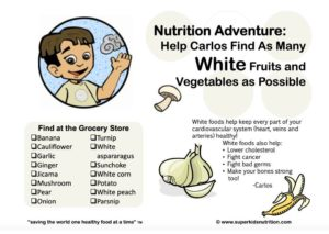 White Fruits and Vegetables kids activity superkids nutrition