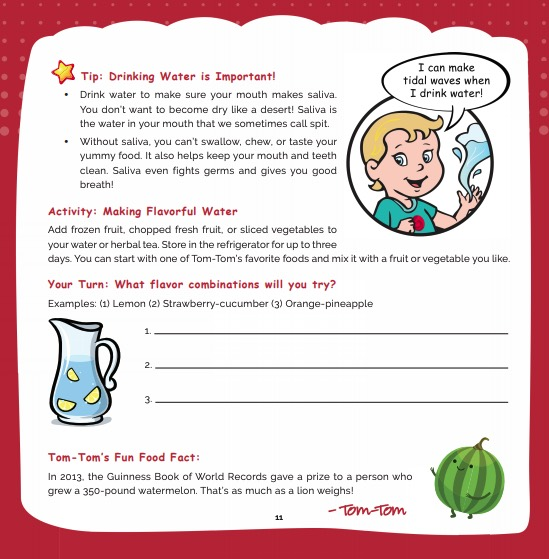 Super Crew kid Tom Tom water activity page in healthy eating for kids and families
