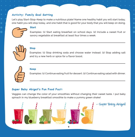 activity family goal setting sheet in healthy eating for families by melissa halas