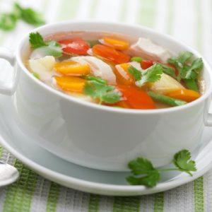 caldo de pollo chicken soup in a soup cup